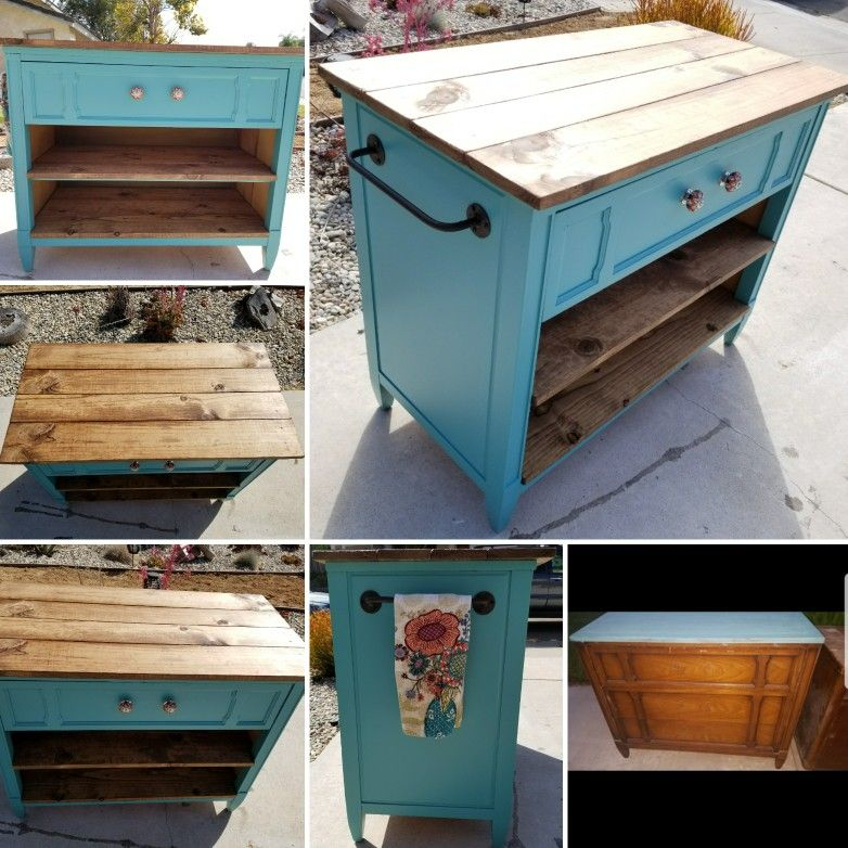 Repurposed Dresser Into A Kitchen Island W Towel Rack