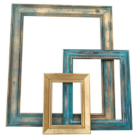 Set of three upcycled and hand-painted open-back frames.   For the ...