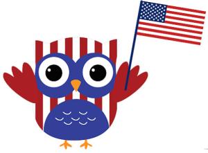 Patriotic owl. Owls art painted rocks