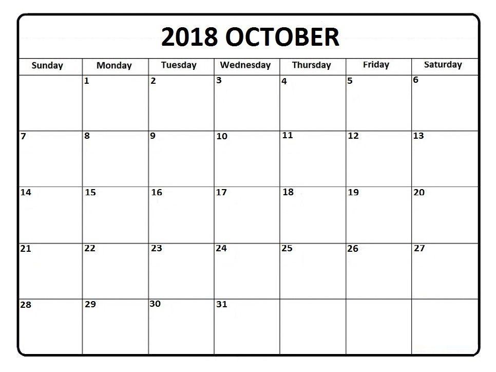 Editable October 2018 Calendar 2018 Calendars Pinterest