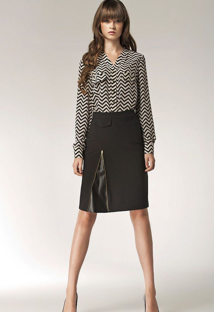 jupe droite femme-sexy noire fendue zip mode tendance chic nife | ebay
