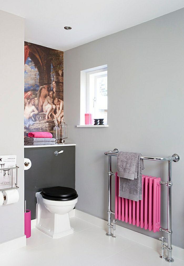 Aménagement salle de bains turquoise, rose orange 25 idées Pink