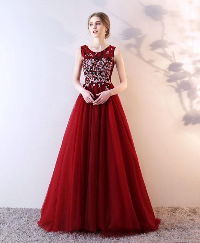 2018 new design beautiful burgundy tulle prom dress, floor length ...