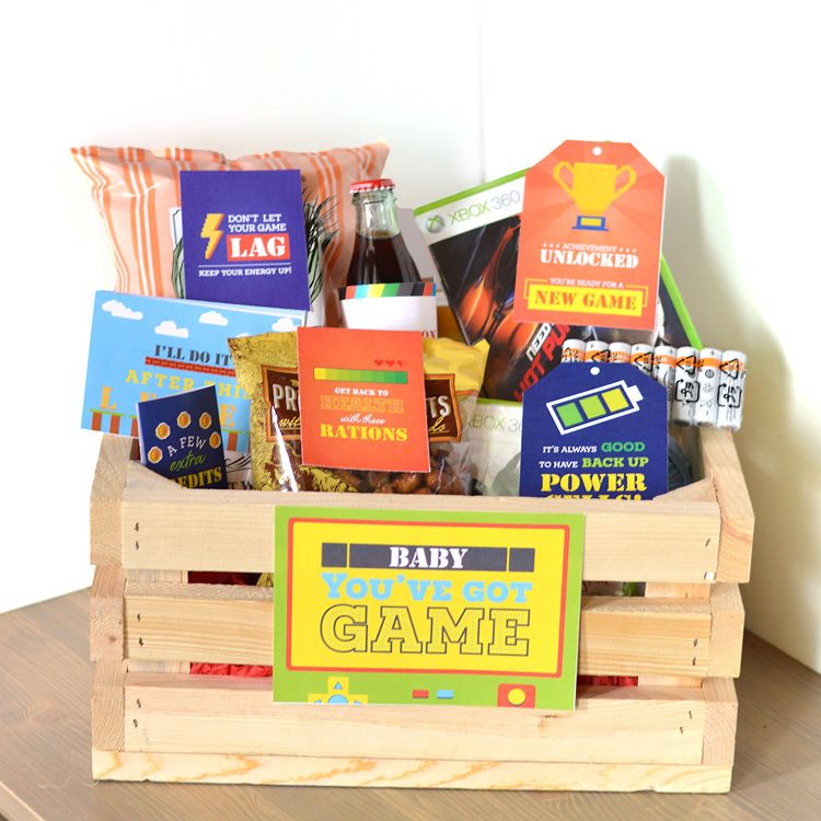 Gamer gift basket diy valentines day gifts for him