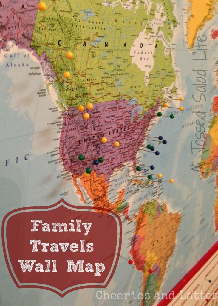 Diy family travels wall map on the wall from the ceiling diy family travels wall map travel map with pinsworld gumiabroncs Choice Image