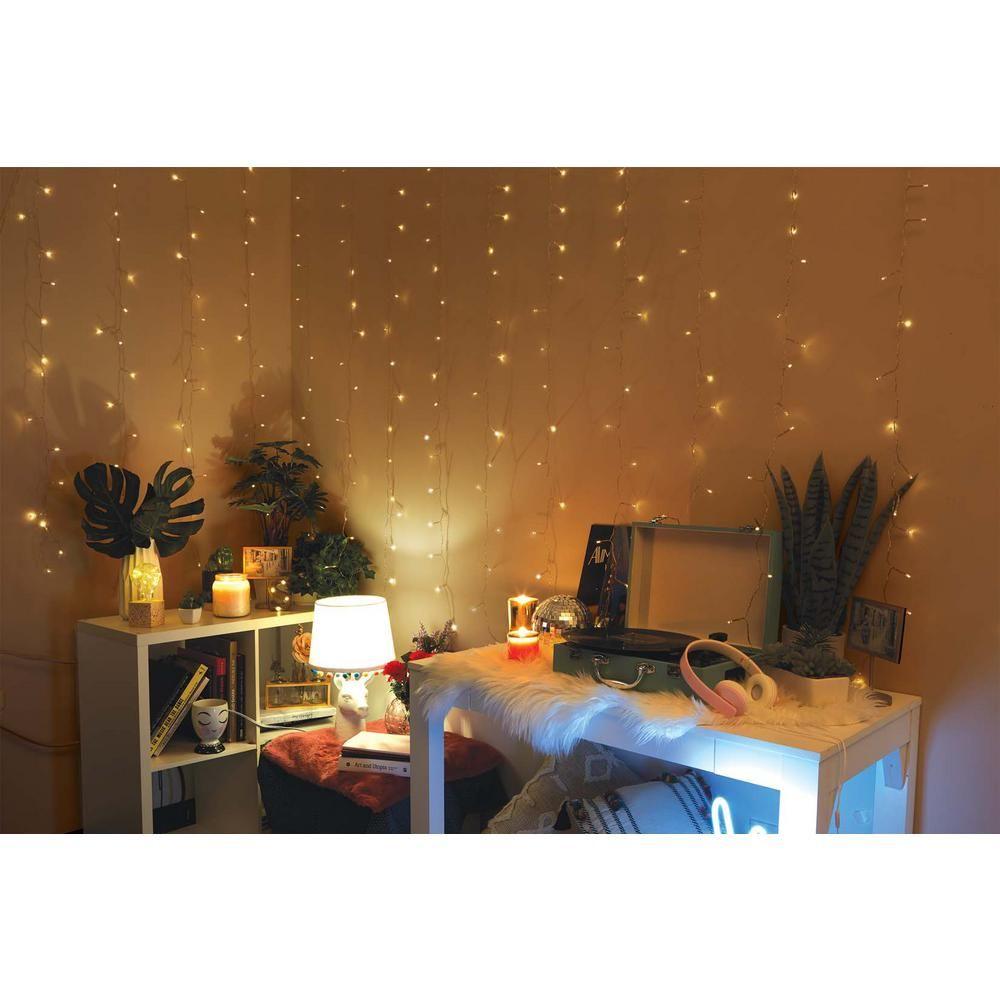 Merkury Innovations 96-Light 4 Ft. Warm White LED Curtain