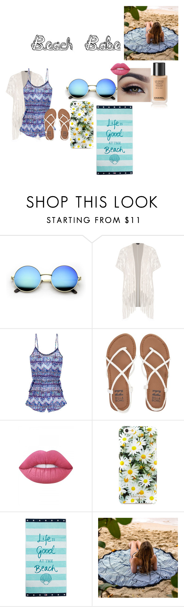 """This style is for the beach"" by abbiebroadway ❤ liked on Polyvore featuring City Chic, Victoria's Secret, Billabong, Lime Crime, Kate Spade and Lexington"