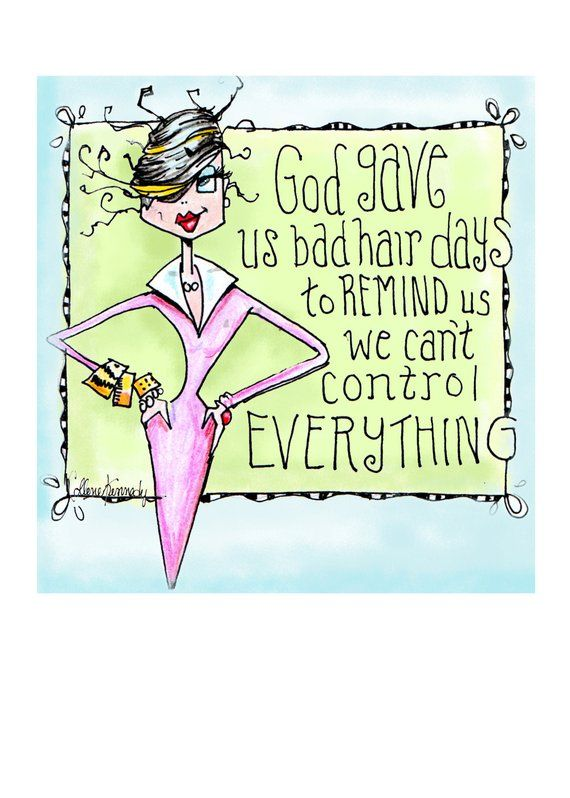 Printable Funny Birthday Card Digital Greeting Woman Good Hair Day Birt