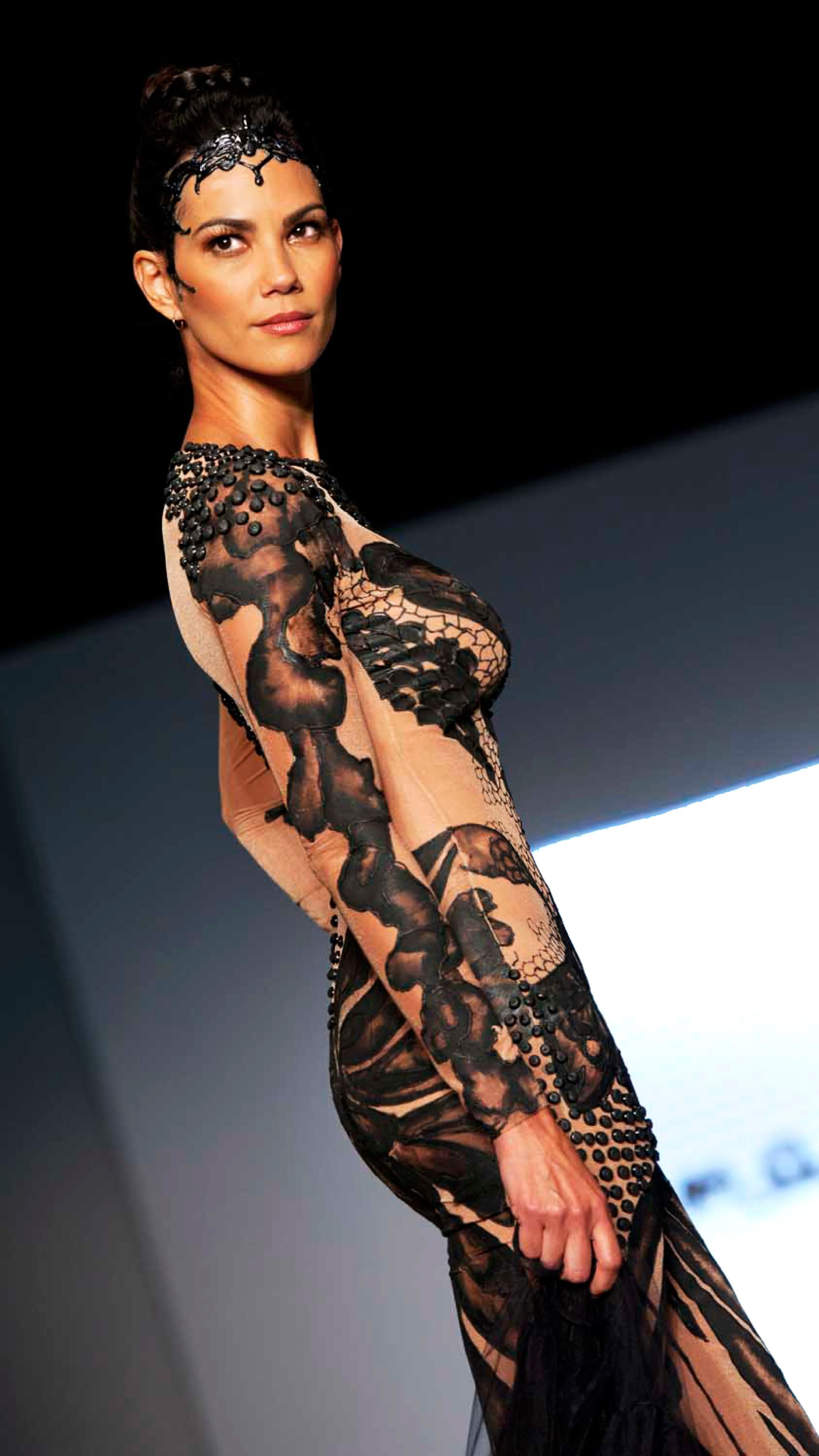 Hand Painted Body Suit Nude Black Evening Gown  Miami -3163