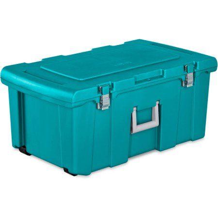 Footlocker Storage Trunk Large Plastic Container Teal Sachet Rolling Wheels