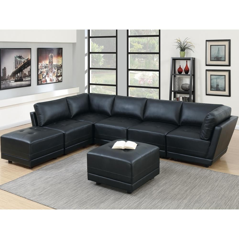 Astounding 7 Piece Black Bonded Leatherette Modular Sectional Set With Machost Co Dining Chair Design Ideas Machostcouk