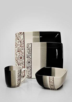 Stokes 16 Piece Brown Floral Stencil Dinnerware Set