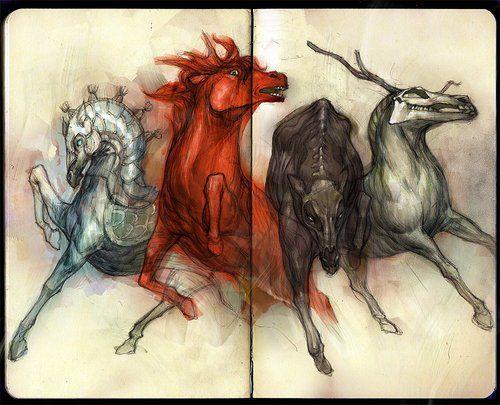 4 horses of the 4 horsemen! This is SO cool  artist?? | Art