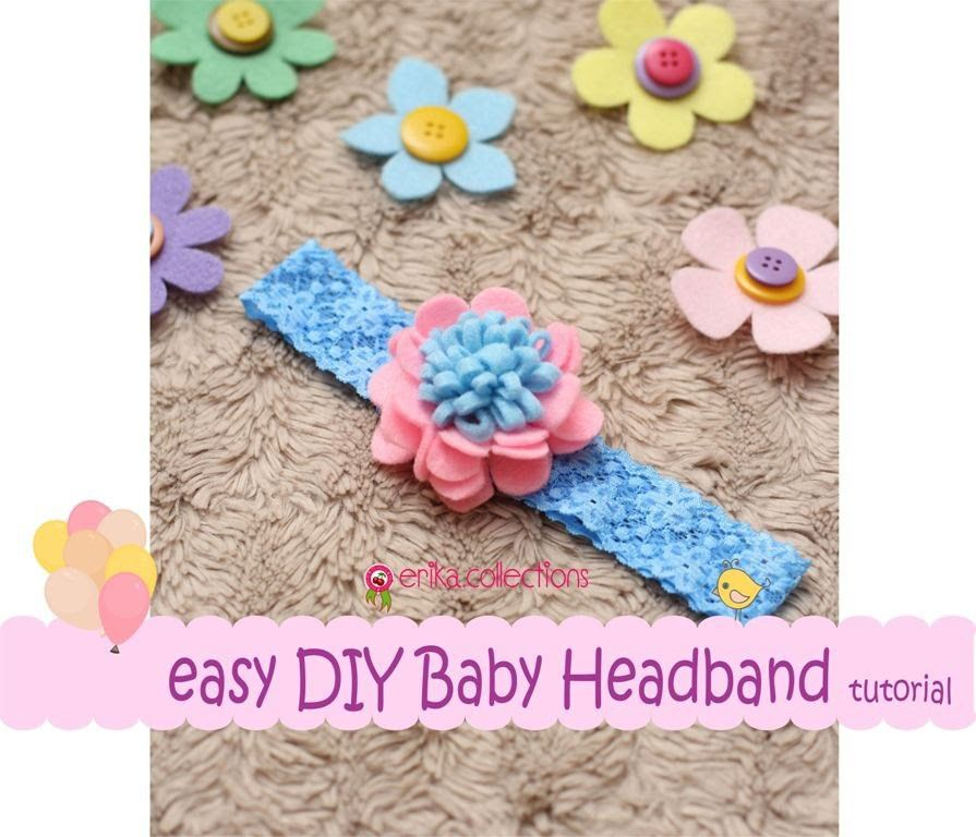 Easy DIY Baby Headband Tutorial [Pink Blue] -Erika Felt. Flanel Craft #babyheadbandtutorial