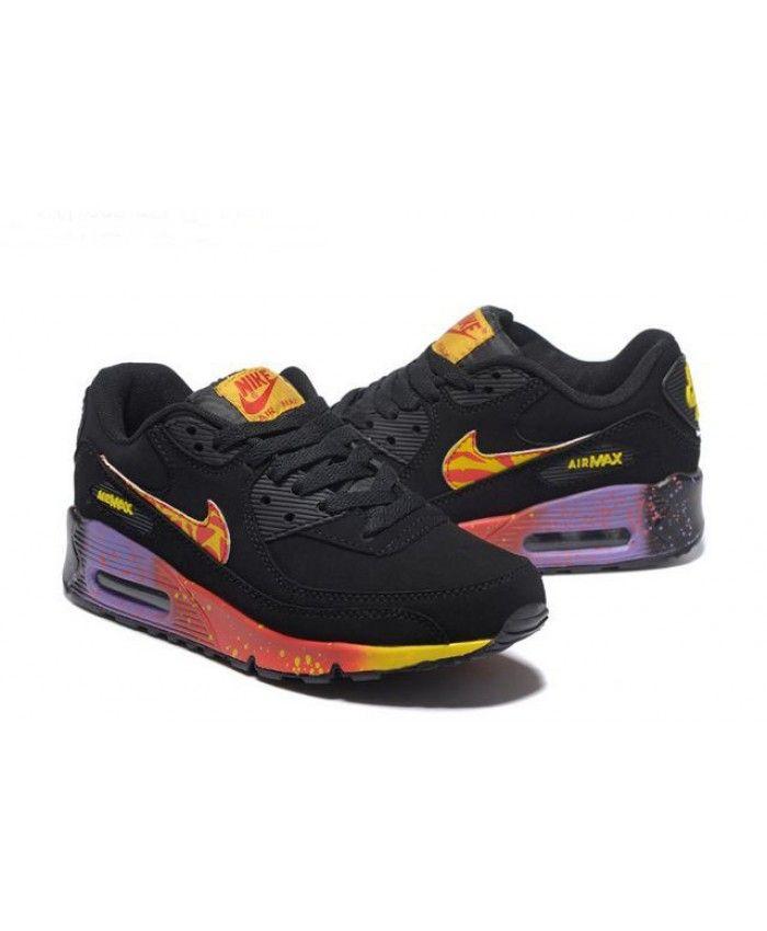 Nike Air Max 90 Rainbow Black Yellow Purple Cheap UK  9179cc636
