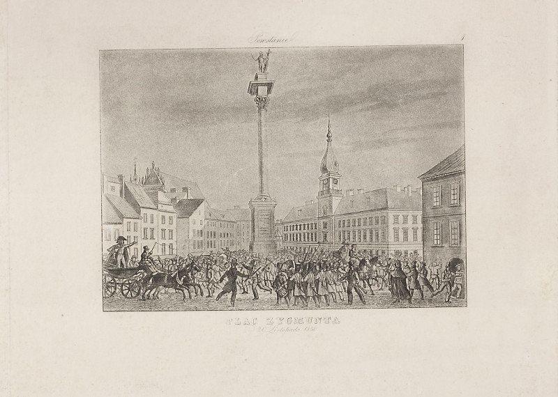 """Muzeum Cyfrowe dMuseion - Plac Zygmunta, tablica 1. z cyklu """"Powstanie"""""""