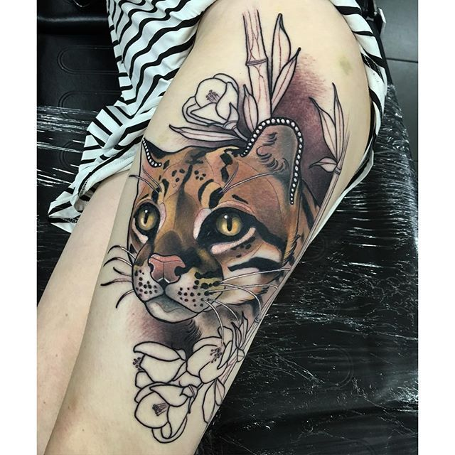 Magnificent Neo Traditional Realism Tattoos By Tim Tavaria Realism Tattoo Leopard Tattoos Tattoos