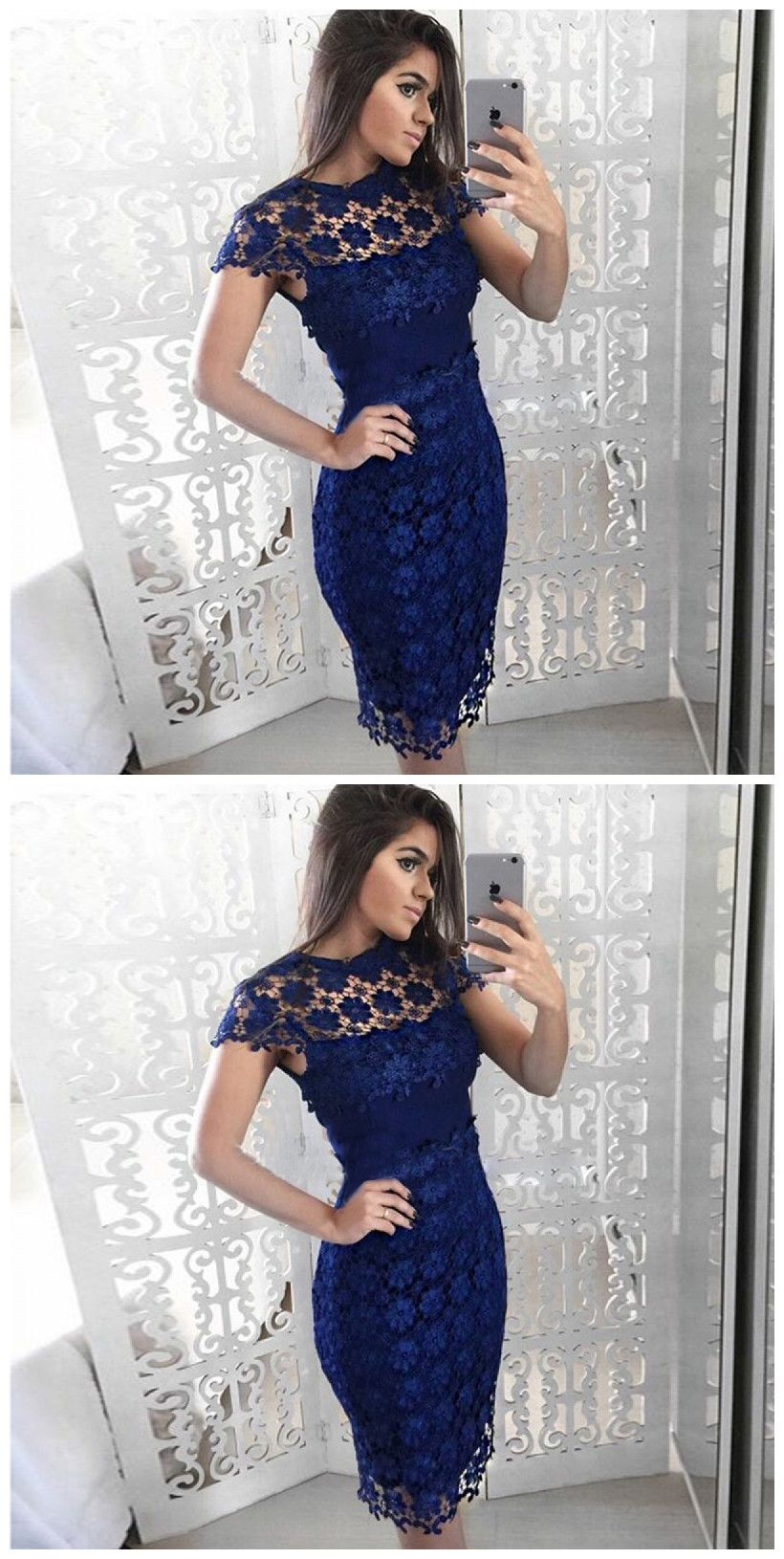 9b4c34997c8 Sheath Round Neck Cap Sleeve Royal Blue Lace  Short Homecoming Dress  Homecoming  Dresses  Short Prom Dresses  Short Cocktail Dresses  Homecoming Dresses