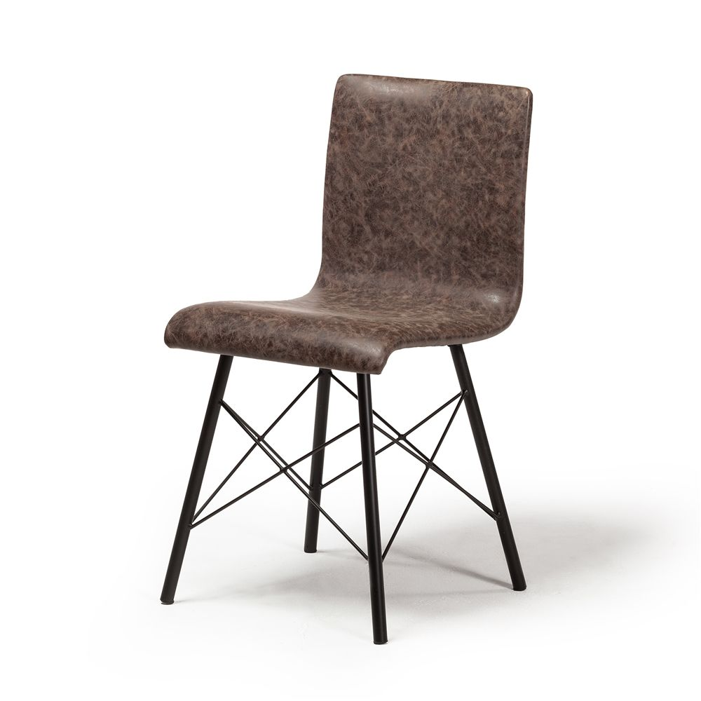 Davis Dining Chair In Distressed Brown Leather The Khazana