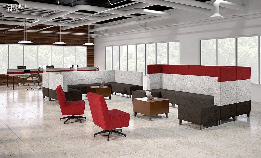 Derek Schweikarth's Fringe lounge seating with aluminum legs and coordinating bistro tables by National Office Furniture.