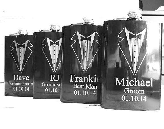 Set of 10 8oz Black Tuxedo Groomsmen Hip Flask with Personalization