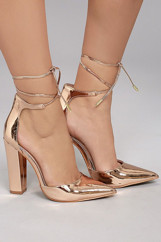 72330400c58 Angela Rose Gold Lace-Up Heels in 2019