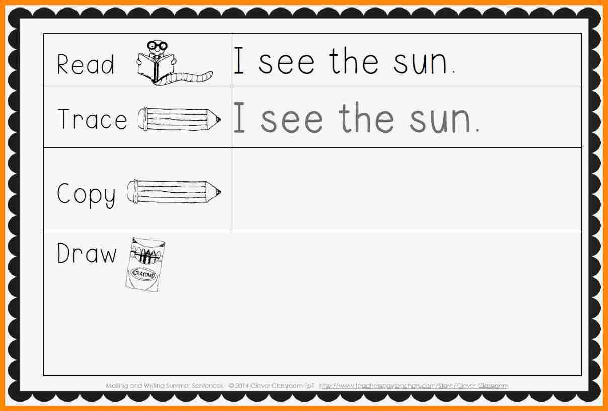 10 Kindergarten Sentence Writing