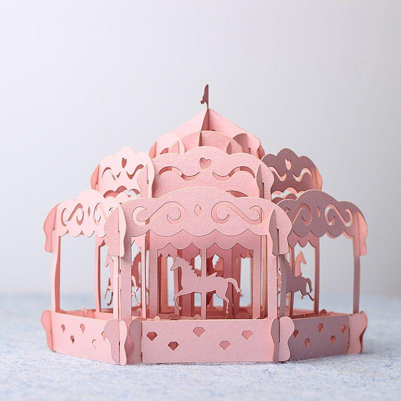 Handmade paper carrousel modèle de papier de bricolage de maison - modele de construction maison