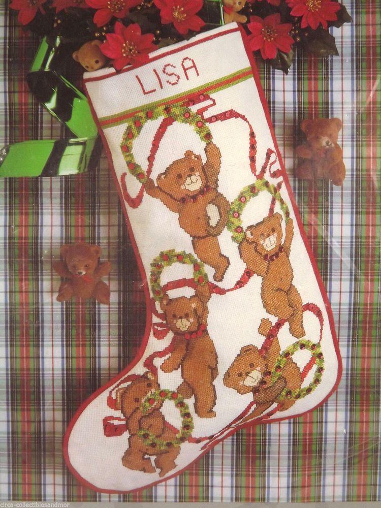 Candamar teddy bear wreaths christmas stocking counted