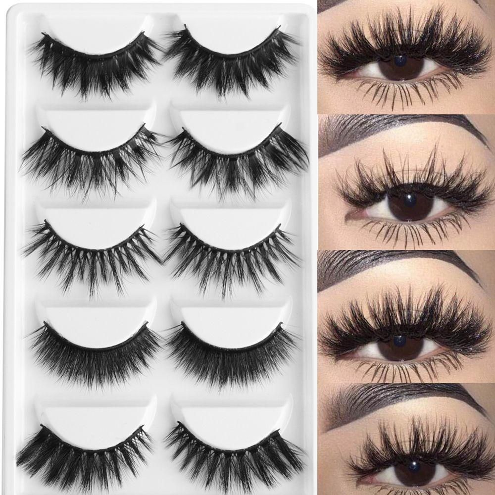 7206de6212b 5 Pairs Multipack 3D Soft Mink Hair False Eyelashes Handmade Wispy Fluffy Long  Lashes Natural Eye Makeup Tools Faux Eye Lashes