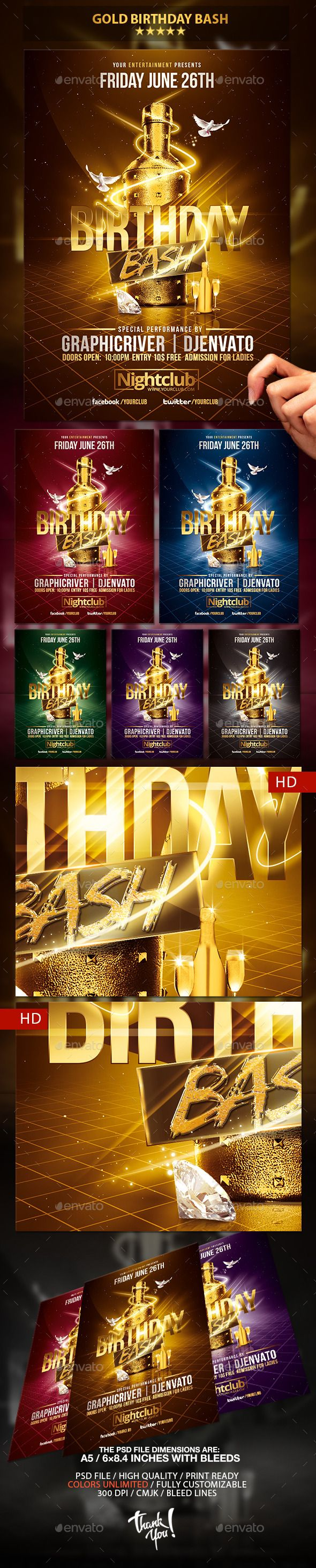 Gold Birthday Bash  Psd Flyer Template  Psd Flyer Templates