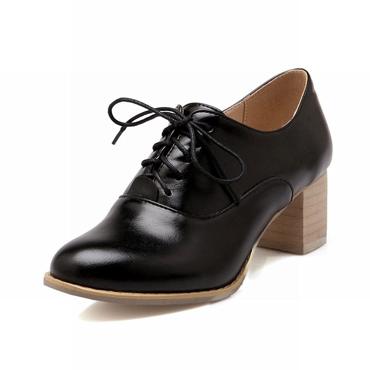2a45f3c9396d Latasa Womens Elegant Leather Mid-heel Chunky Lace-up Oxford Shoes ...