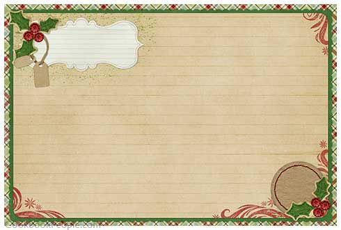 Free Recipe Cards Christmas Recipe Cards Printable Recipe Cards Holiday Recipe Card