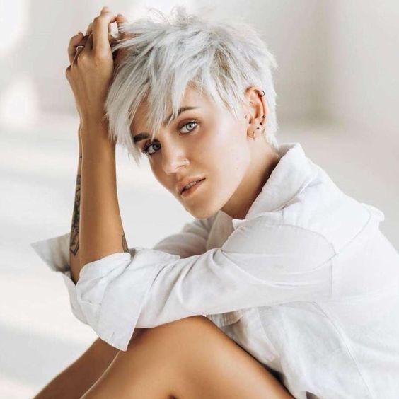 Platin Kurze Frisur Kurzhaarfrisuren In 2020 Kurze Haare Ideen Frisuren Graue Haare Graue Haare