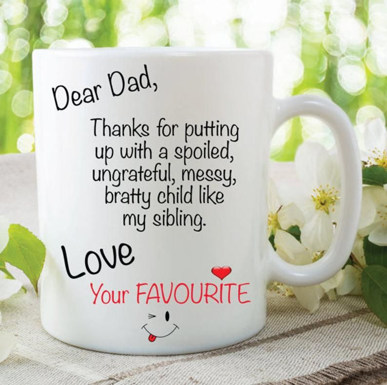 Novelty Mug Dear Dad Sibling Love Your Favourite Gift Funny Cup