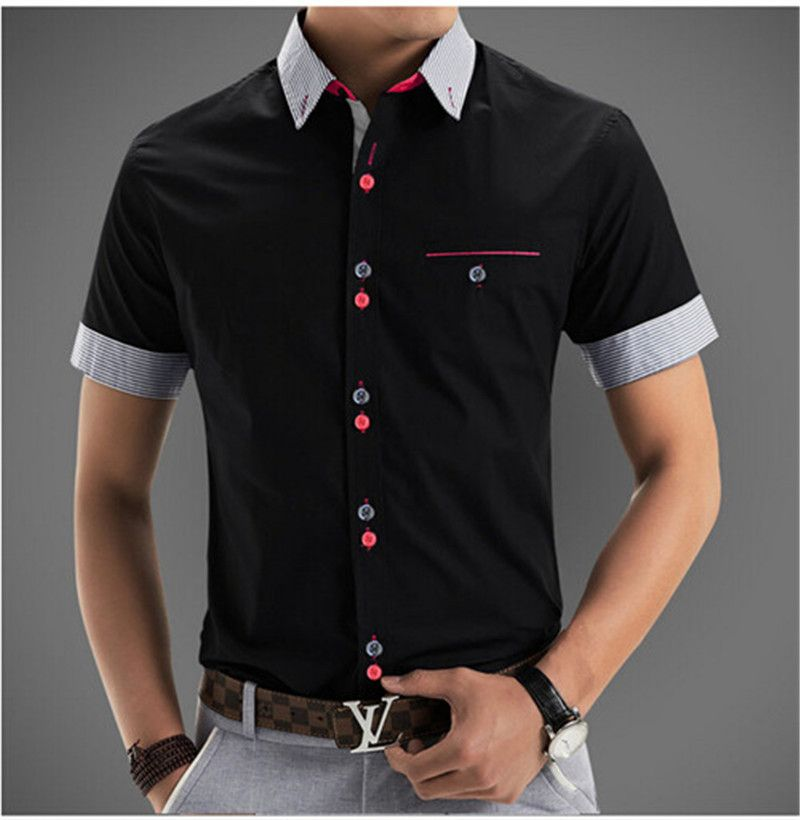 2016 Brand Men Shirts Short Sleeve Dress Men Fashion Quality ...