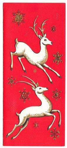 Vintage Embossed White Deer Season's Greeting Card