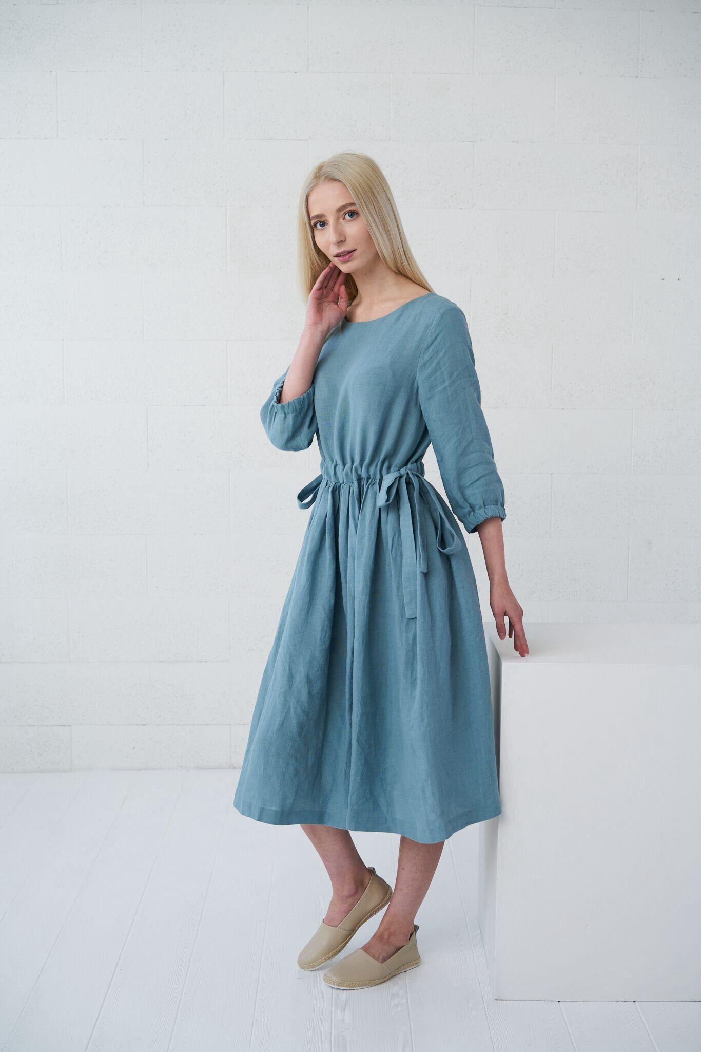 429fa77827 Linen dress with pockets BORA-BORA