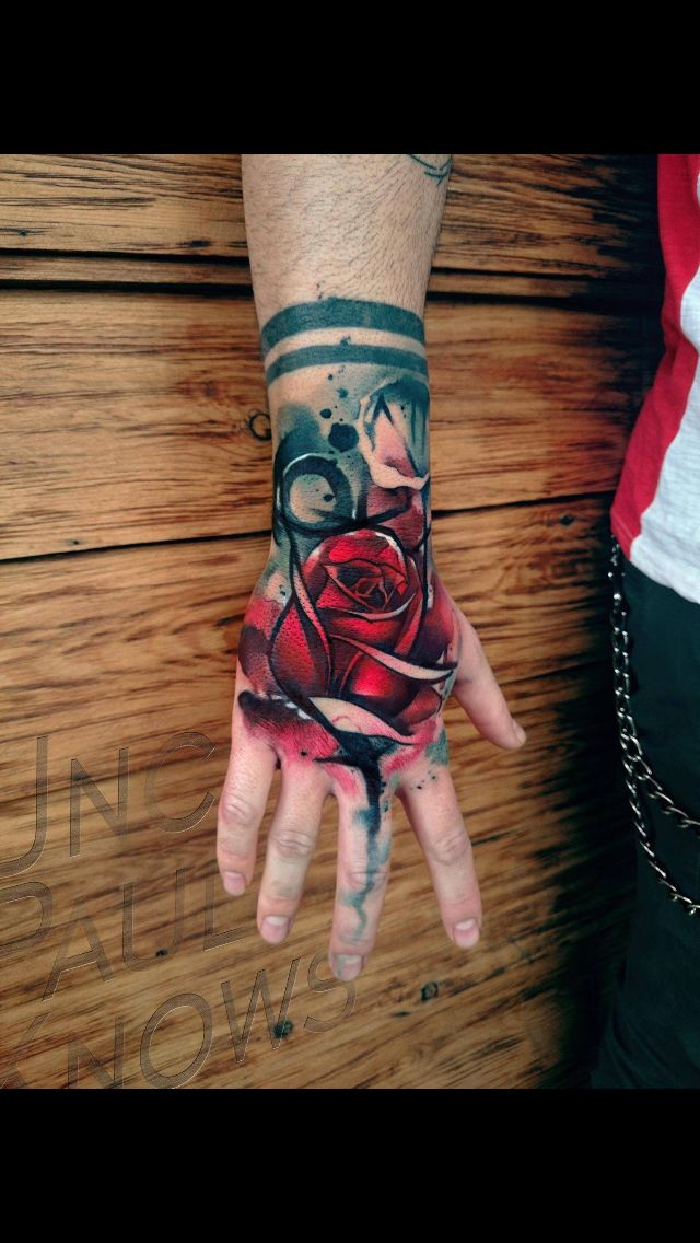 Water Color Rose Tattoo Hand Tattoos Rose Hand Tattoo Sleeve Tattoos