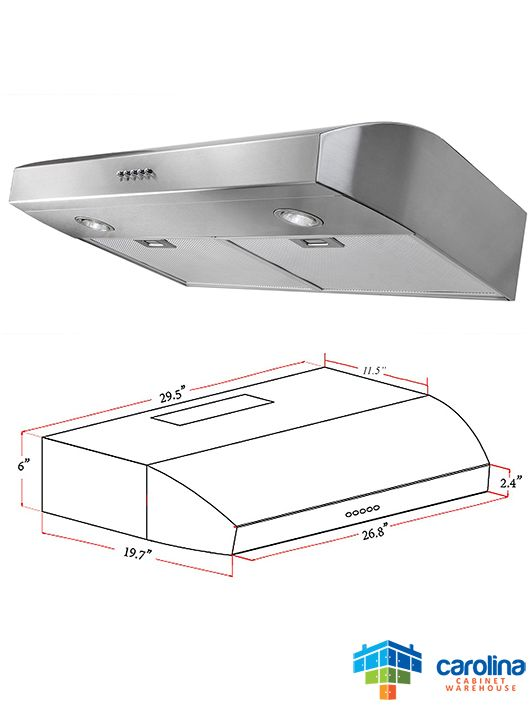 30″ Under Cabinet Range Hood Duct Size: 10
