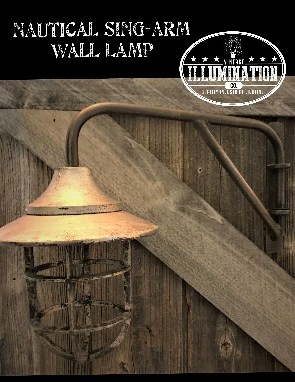 Nautical Swing Arm LampSilver Finish Industrial Lighting