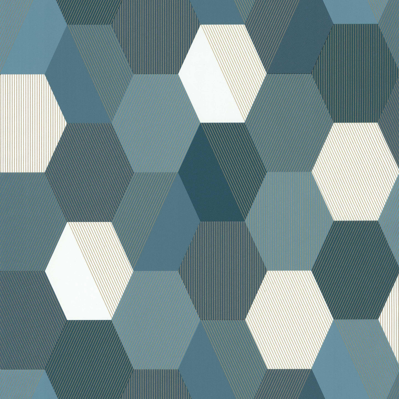 Papier Peint Hicks Hexagon Pas Cher papier peint intissé spaces hexagone bleu canard en 2020