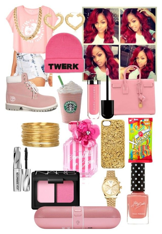 """""""All Pink Everything"""" by yungxambition ❤ liked on Polyvore featuring Timberland, Yves Saint Laurent, Victoria's Secret, Michael Kors, Marc by Marc Jacobs, Satya Jewelry, NARS Cosmetics, Bare Escentuals and Beats by Dr. Dre"""
