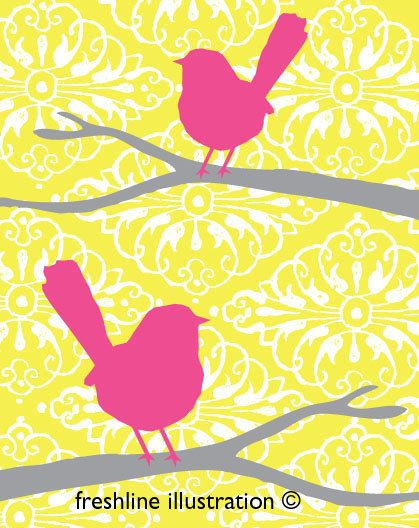 Birds on Branches in Yellow Gray Grey Purple or your by Freshline, $18.95