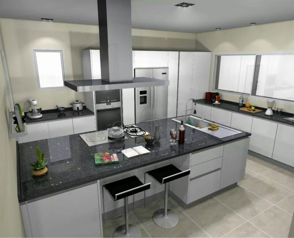 Smart small open kitchen, seats undercover