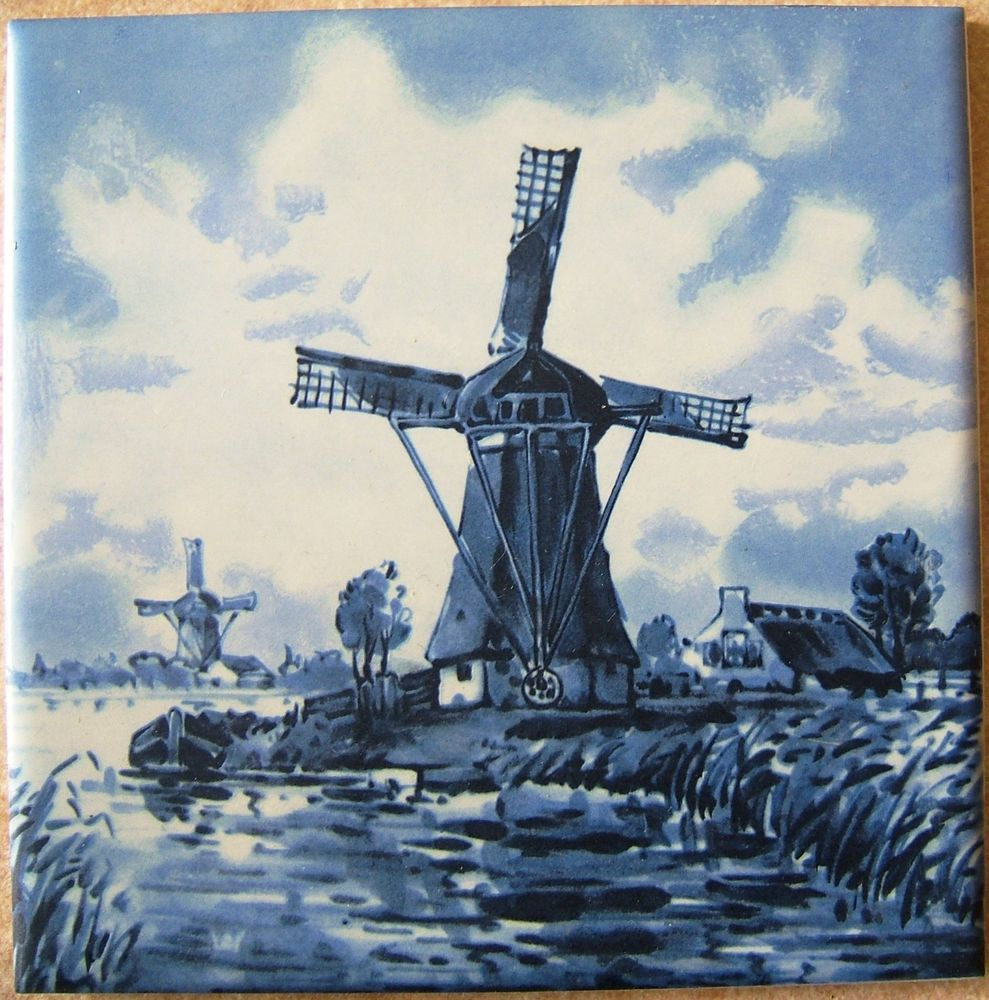Check out vintage delft blue windmills scene ceramic tile mid state check out vintage delft blue windmills scene ceramic tile mid state usa 1970s http dailygadgetfo Image collections
