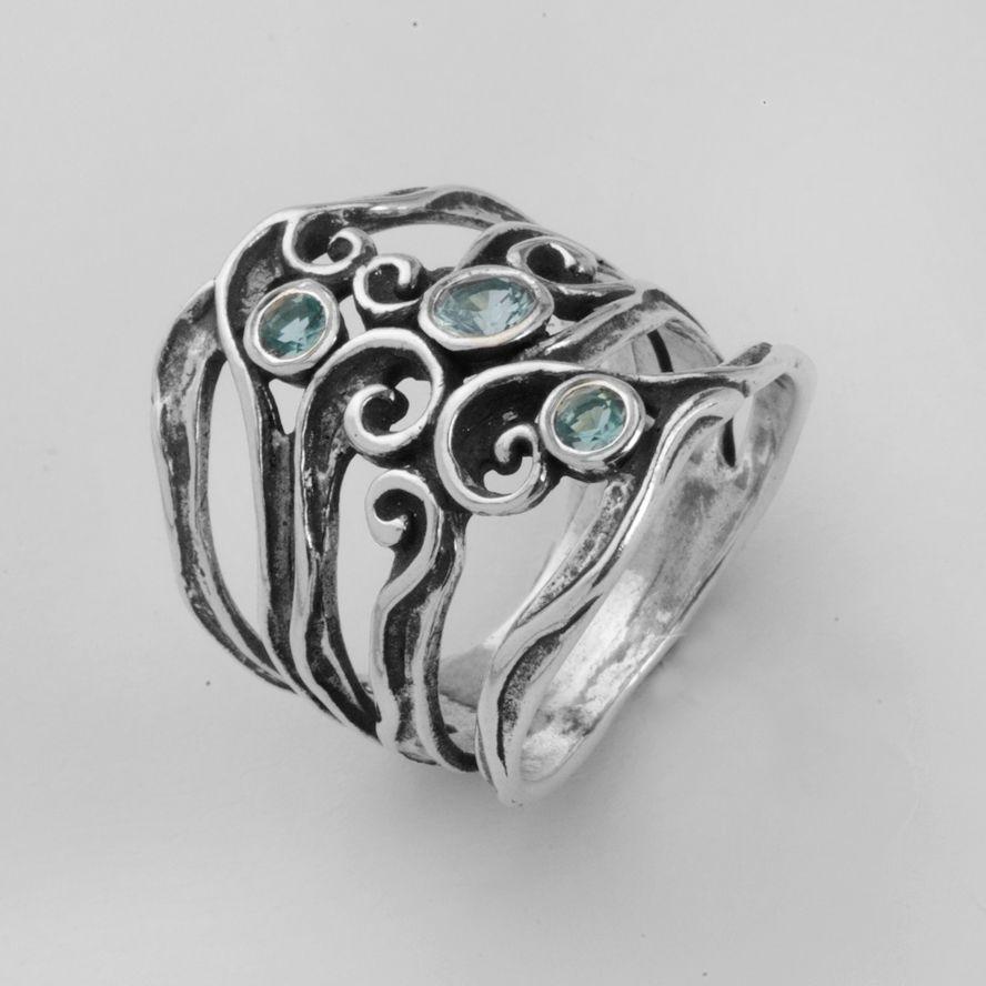Shablool Didae Israel Ring Sterling Silver Blue Round Ladies Women New   eBay