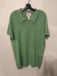 Details about Quacker Factory Women XL Short Sleeve Knit Top Green