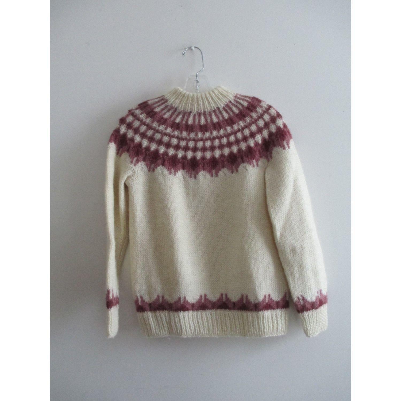Vintage Cream Mauve Pink Hand Knit Snowflake Turtleneck Thick ...