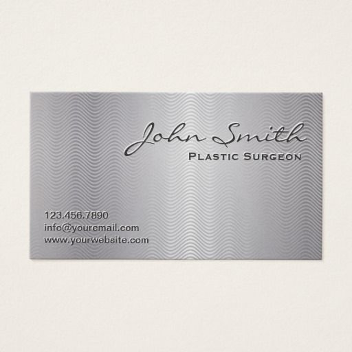 Platinum Metal Plastic Surgeon Business Card Zazzle Com Printing Business Cards Printed Cards Business Cards